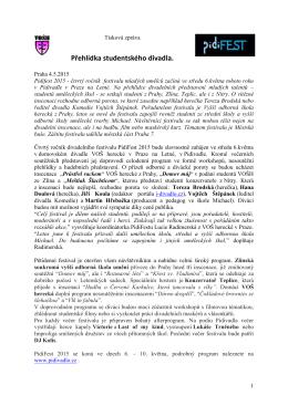 PidiFEST- Tisková zpráva  - Vyšší odborná škola herecká Praha