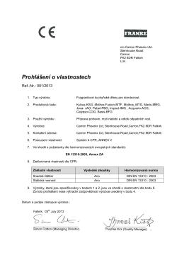 Prohlášení o vlastnostech - fragranitové dřezy(153.55 kB