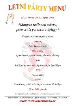 Párty menu létofinal