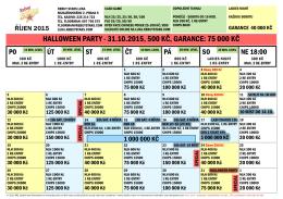 HALLOWEEN PARTY - 31.10.2015, 500 KČ, GARANCE: 75 000 KČ