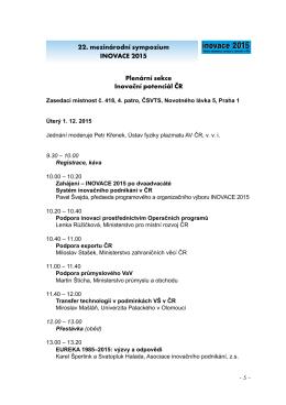 22. mezinárodní sympozium INOVACE 2015 Plenární
