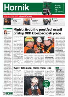 Ministr životního prostředí ocenil přístup OKD k bezpečnosti práce