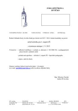 učitel/učitelka pro I. stupeň ZŠ s termínem nástupu 1. 9. 2015