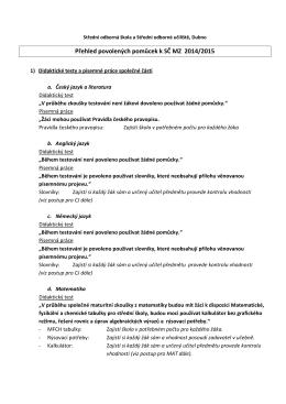 přehled povolených pomůcek - 2015