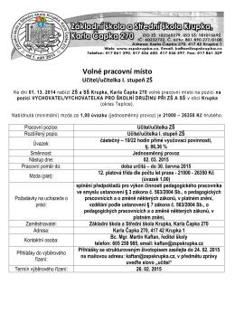 Volné pracovní místo Učitel/učitelka I. stupeň ZŠ