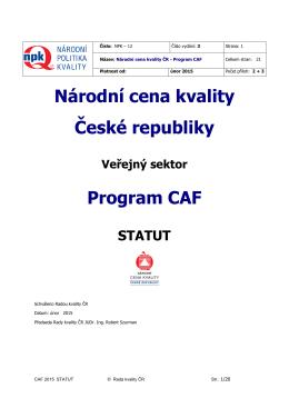 Národní cena kvality ČR Program CAF - Statut