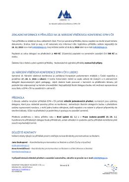 základní informace k přihlášce na 18. národní výběrovou konferenci