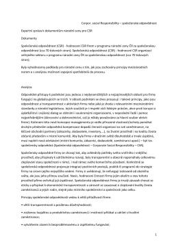 společenská odpovědnost Expertní zpráva k dokumentům národní