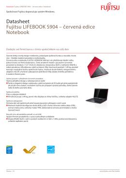 Datasheet Fujitsu LIFEBOOK S904 – červená edice Notebook