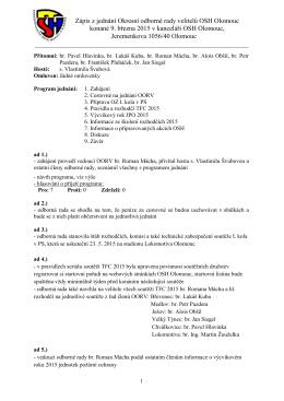 Zápis z jednání Okresní odborné rady velitelů OSH Olomouc konané