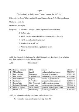 Zápis Z jednání rady velitelů okresu Trutnov konané dne 11.3.2015