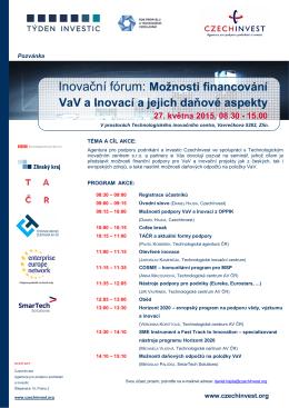 Inovační fórum: Možnosti financování VaV a Inovací a jejich daňové