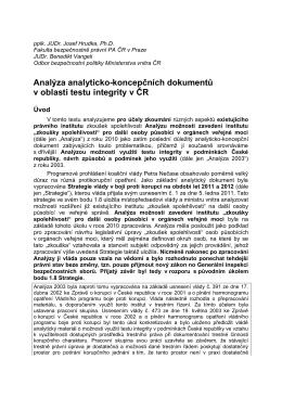 """""""Analýza možnosti zavedení institutu """"zkoušky spolehlivosti"""" pro"""