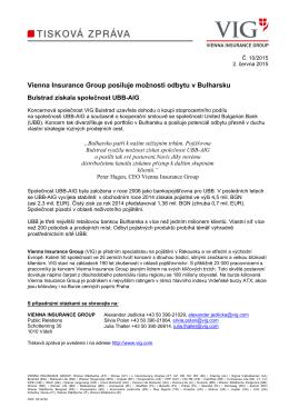 Vienna Insurance Group posiluje možnosti odbytu v Bulharsku