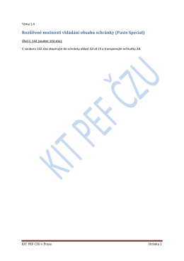 Rozšířené možnosti vkládání obsahu schránky (Paste Special)