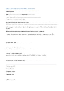 Žádost o přístup do školní WiFi sítě SŠO pro studenty