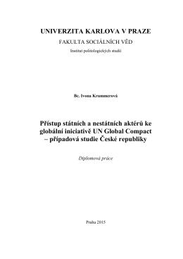 Přístup státních a nestátních aktérů ke globální iniciativě UN Global