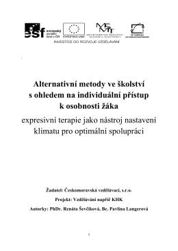 Alternativní metody ve školství s ohledem na individuální přístup k