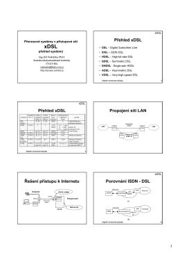 Přehled xDSL Přehled xDSL Propojení sítí LAN Řešení přístupu k