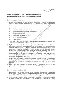 Příloha č. 1 Smlouvy o předávání dat Způsob předávání dat a přístup