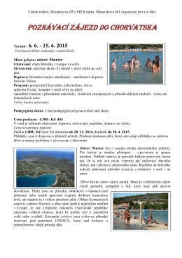 Poznávací zájezd do Chorvatska