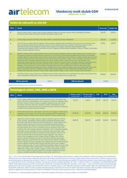 Všeobecný ceník GSM služeb (platnost od 1. 5. 2015)