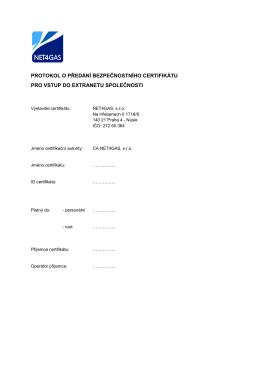 Protokol o předání bezpečnostního certifikátu