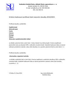 Kritéria hodnocení profilové části maturitní zkoušky 2014/2015