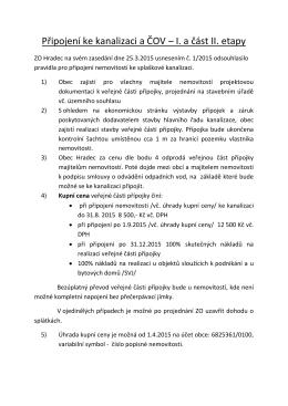 Připojení ke kanalizaci a ČOV – I. a část II. etapy