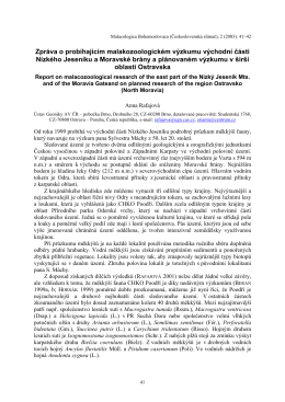 Zpráva o probíhajícím malakozoologickém výzkumu východní části