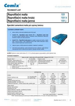 Cementová reprofilační malta hrubá Cemix 151 , 151 h, 151 j
