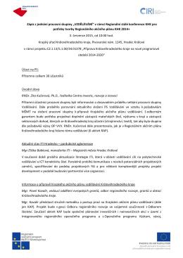 Zápis z jednání - Regionální rozvojová agentura Královéhradeckého