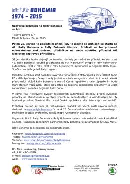 Uzávěrka přihlášek na Rally Bohemia se blíží! Tisková zpráva č. 4