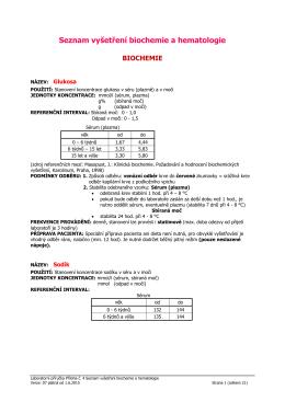 Příloha č.4 Seznam vyšetření biochemie a hematologie