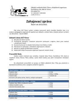 Zpráva - ZUŠ Tišnov