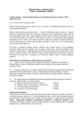 Vnitřní směrnice - zápis do ZŠ