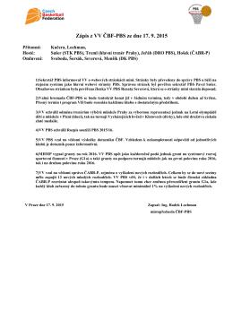 Zápis ze schůze výboru ČBF