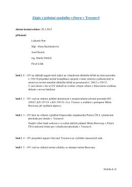 Zápis z jednání osadního výboru v Trocnově