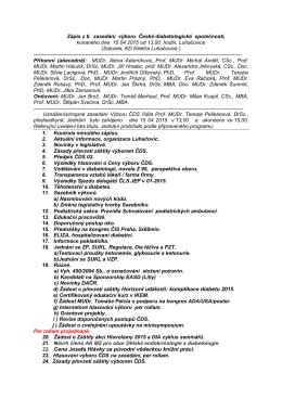Zápis z 6. zasedání výboru České diabetologické společnosti