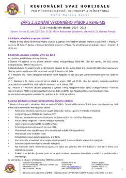 Zápis jednání Výkonného výboru 2015-09 - HOKEJBAL