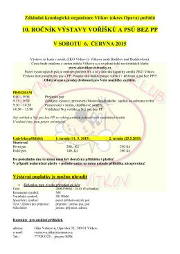 Propozice 2015 - ČKS - ZKO č. 189, Vítkov, okr.Opava