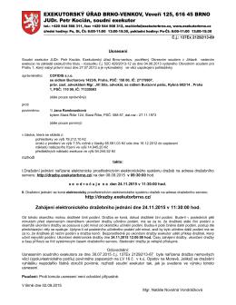 http://drazby.exekutorbrno.cz/ Zahájení elektronického dražebního