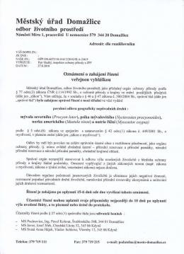 Oznámení o zahájení řízení o povolení odlovu, č.j. SLA