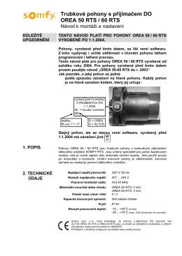 Trubkové pohony s přijímačem DO OREA 50 RTS / 60 RTS