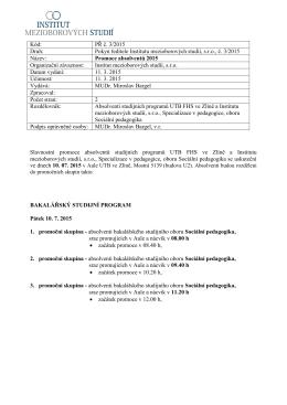 Kód: PŘ č. 3/2015 Druh: Pokyn ředitele Institutu mezioborových