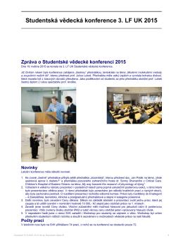 Studentská vědecká konference 3. LF UK 2015