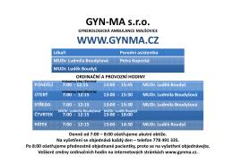 GYN-MA s.r.o. WWW.GYNMA.CZ