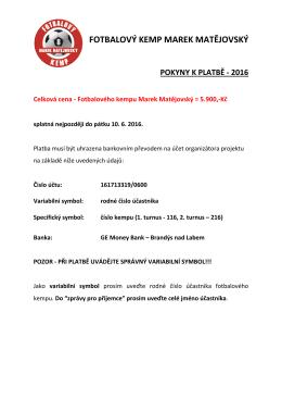 Pokyny k platbě - Marek Matějovský