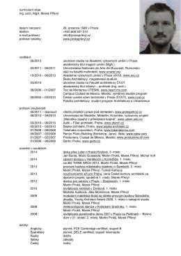 curriculum vitae Ing. arch. MgA. Marek Přikryl datum narození: 26
