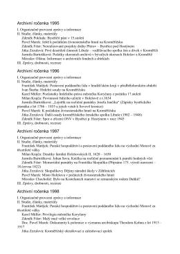 Obsah - Státní okresní archiv Kroměříž